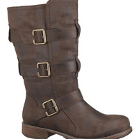 Cameron mid calf boot with buckles
