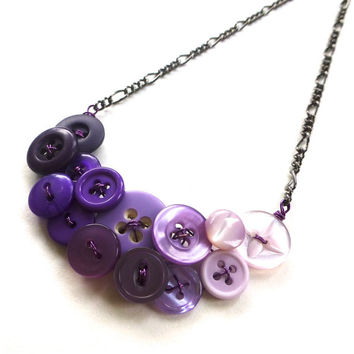 Ombre Purple Vintage Button Fashion Necklace - Shades of Purple