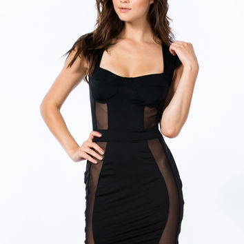 Mesh 2 B Made Bustier Bodycon Dress