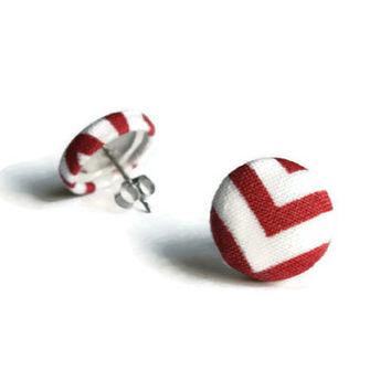 Dark Red Earrings, Red Earring, Button Earrings, Red Earings, Chevron Earrings, Stainless Steel Jewelry, Post Earring, Earring Studs