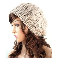 EVERMARKET(TM) Women Lady Winter Warm Knitted Crochet Slouch Baggy Beret Beanie Hat Cap Cream-colored