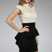 Ivory/Black Peplum Dress