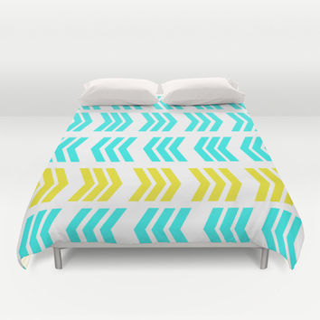 Sunshine Pop and Aqua Zig Zag Duvet Cover by Lisa Argyropoulos | Society6