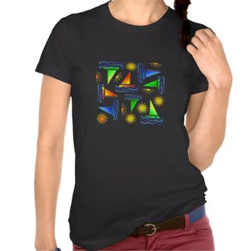 Colorful Sailboats & Suns on Black Women's Tee