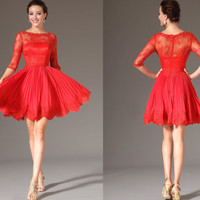 Custom Made Be My Valentine Red Lace Bodice Half Sleeves Party Dress (04142402)