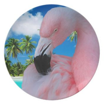Pink Flamingo Melamine Party Plate