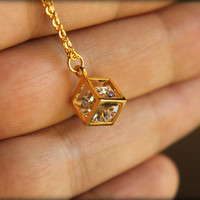 Boxed Diamond Necklace in Gold by saffronandsaege on Etsy
