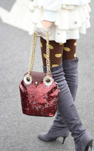 Super Cute Burgundy Sequins Owl Handbag.Tote. Fashionista Weekend Bag | GlamUp - Bags & Purses on ArtFire