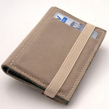 Designed Gray leather wallet, Enclosed by elastic band, one of a kind portemonnaie, made of up cycled leather