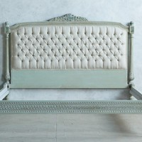 One of a Kind 1930's Queen Bed Pale Sage Tufted Linen
