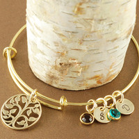 Tree of Life Bange Bracelet Personalized with Birthstones - Alex and Ani Inspired
