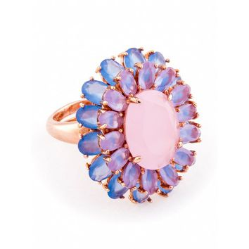 Go Frey: Rose quarts gold plated ring - Tresor Maison