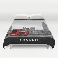 Black and White London with Red Bus Duvet Cover by Alice Gosling | Society6
