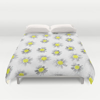 Flowering On White Duvet Cover by Ornaart