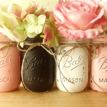 Four Hand Painted Mason Jar  Rustic  Style Painted Mason