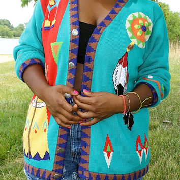 Blue Retro Indian/Native American Sweater from the 90's!