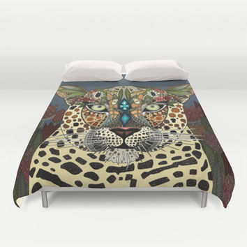 leopard queen blue Duvet Cover by Sharon Turner | Society6