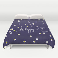 *** HAPPY DAISY *** Navy  Duvet Cover by Monika Strigel | Society6