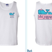 Chi Omega Vineyard Whale Big & Little Tank Tops Sizes SMALL-XXL