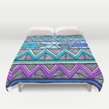 Two Feathers (color version 3) Duvet Cover by Lisa Argyropoulos | Society6