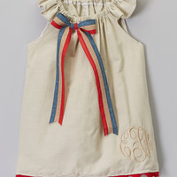 Red & Blue Bow Monogram Angel-Sleeve Dress - Infant & Toddler | zulily