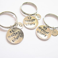 3 best friends keychain, no matter where, long distance, moving away gift, bff key chain, handstamped key ring, handstamped keychain