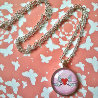 Swallow love birds glass dome necklace for tween or teen girl