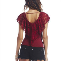 Lace Ruffle Top   Wet Seal