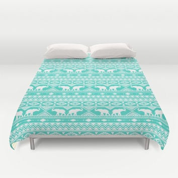 Elephant Tribal Mint Duvet Cover by Jacqueline Maldonado | Society6