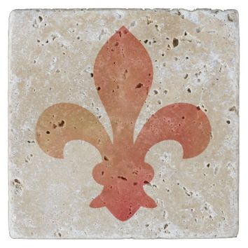 Red Gold French Fleur de Lis Stone Coaster
