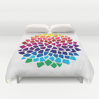 Rainbow Dahlia Duvet Cover by Color and Form | Society6