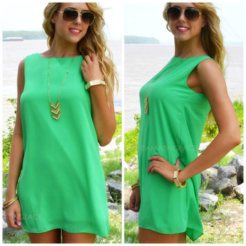 Victory Boulevard Spear Mint Sleeveless Shift Dress