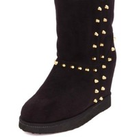 STUDDED FAUX FUR-LINED WEDGE BOOTIES
