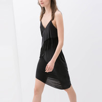 FRINGED CUPRO DRESS