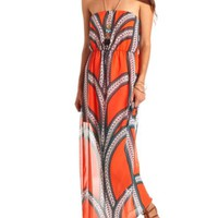 PRINTED CHIFFON STRAPLESS MAXI DRESS