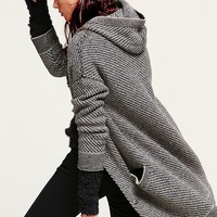 Free People Womens Right Angles Hooded Sweater Jacket - Black