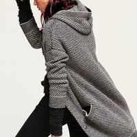 Free People Womens Hooded Marled Sweater Jacket - Black Combo,