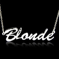 Silver plated 'Blonde' necklace by mycharmoffensive on Etsy