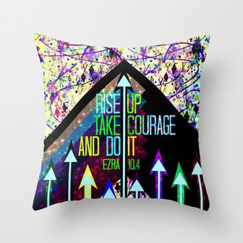 RISE UP TAKE COURAGE AND DO IT Colorful Geometric Floral Abstract Painting Christian Bible Scripture Throw Pillow by The Faithful Canvas