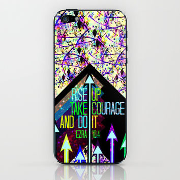 RISE UP TAKE COURAGE AND DO IT Colorful Geometric Floral Abstract Painting Christian Bible Scripture iPhone & iPod Skin by The Faithful Canvas