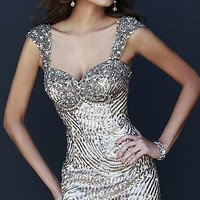 Short Gold Beaded Dress by Sherri Hill