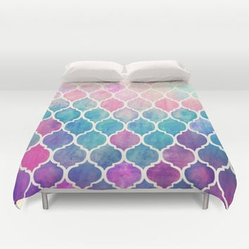 Rainbow Pastel Watercolor Moroccan Pattern Duvet Cover by Micklyn