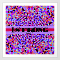 BE STRONG Bold Colorful Purple Abstract Painting Pattern Christian Scripture Inspiration Typography Art Print by The Faithful Canvas