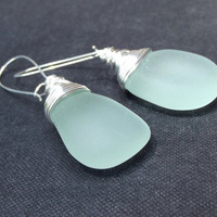Light Aqua Sea Glass Earrings:  Fine Silver Wire Wrapped Mint Green Large Pebble Beach Jewelry