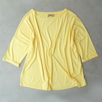 Cuffed Elbow Sleeve Piko Tee in Yellow [5875] - $22.40 : Vintage Inspired Clothing & Affordable Dresses, deloom | Modern. Vintage. Crafted.