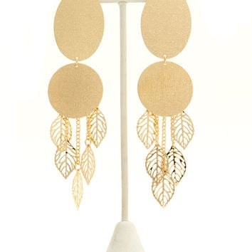 Leaf Charm Textured Plate Earrings