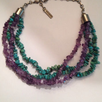 Jan Michaels Handcrafted Turquoise Amethyst Waterfall Semi-precious Necklace