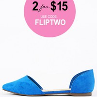 Breckelle's Dolley-23 Pointy Toe D'Orsay Flats | MakeMeChic.com