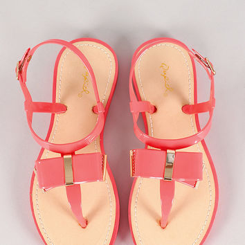 Qupid Jammy-06 Jelly Bow T-Strap Flat Sandal