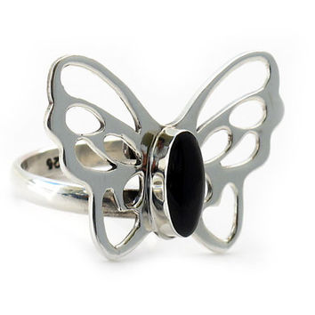 Sterling Silver Butterfly Ring | Black Butterfly | Handcrafted Sterling Silver Jewelry | Butterfly rings | Nature rings | Onyx rings | 0196